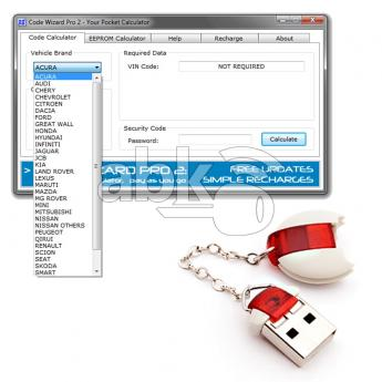 ABK-3891  CWP-2 CWP2 Code Wizard Pro 2 Pin Code Calculator Dongle With 200 Free Tokens  ABKEYS