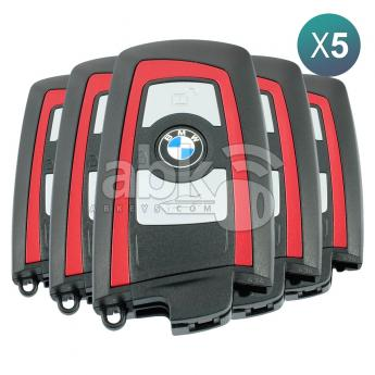 ABK-4913-OFF5  Bmw F Series CAS4 2009+ Smart Key 5Pcs Offer, 3Buttons HUF5767 HITAG PRO PCF7945P, 434MHz Red  ABKEYS